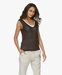 Majestic Filatures Double-layered V-Neck Tank Top - Black/White