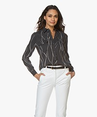 Equipment Slim Signature Washed-silk Blouse - Eclipse/Wit