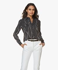 Equipment Slim Signature Washed-silk Shirt - Eclipse/Bright White