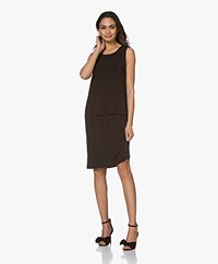no man's land Layered Look Jersey Dress - Core Black