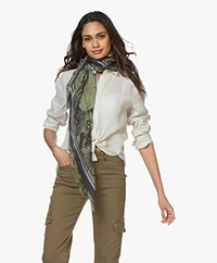 Zadig & Voltaire Kerry Flower Snake Scarf - Khaki