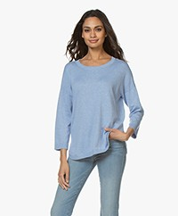 Repeat Fine Knitted Cotton Mix Sweater - Medium Blue