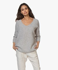 no man's land V-hals Trui met Mohair - Soft Pearl Grey