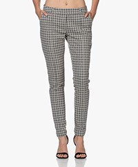 Josephine & Co Jim Houndstooth Jersey Pants - Grey/Off-white