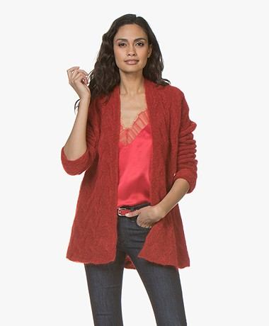 no man's land Half-length Open Cardigan in Mohair and Wool - Scarlet