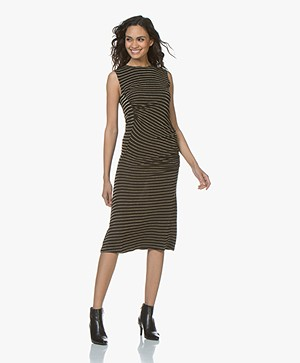 By Malene Birger Tildsa Lurex Striped Jersey Dress - Black