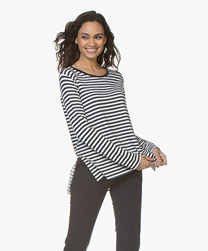 Majestic Filatures Soft Touch Striped Long Sleeve - Milk/Marine
