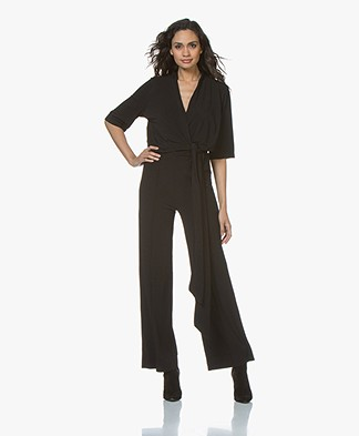 By Malene Birger Zhou Crepe Jersey Jumpsuit - Black