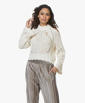 IRO Unctuous Open-shoulder Crochet Knit Sweater - Off-White