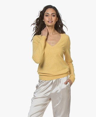 Repeat Cashmere V-hals Pullover - Sunflower