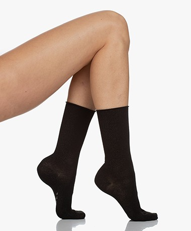FALKE Shiny Lurex Socks - Black