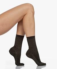FALKE Shiny Rib Lurex Socks - Black