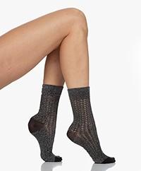 Wolford Nyx Lurex Ajour Socks - Black/Silver