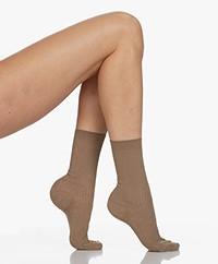 FALKE Shiny Rib Lurex Socks - Café Latte