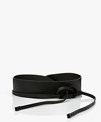 Pomandère Leather Tie Waist Belt - Black