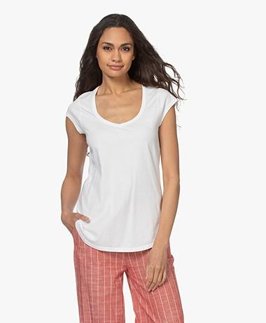 no man's land Cotton V-neck T-shirt - Ivory
