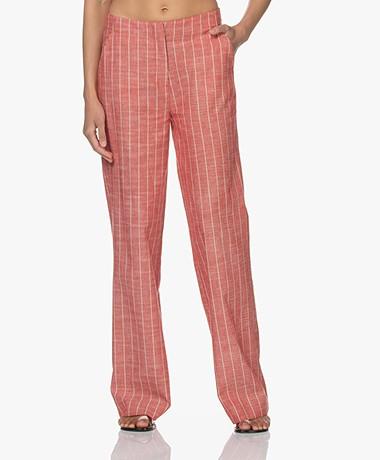 Kyra & Ko Beth Striped Cotton-Linen Pants - Burnt Red