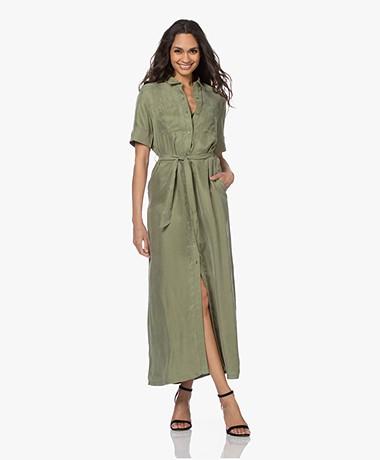 Denham Denise Cupro Blend Maxi Shirt Dress - Green Bay