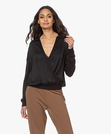 Repeat Knitted Sweater with Silk Front - Black