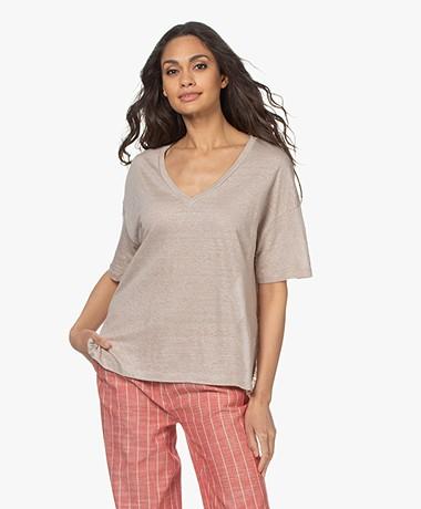 Drykorn Svennie Linnen V-hals T-shirt - Beige