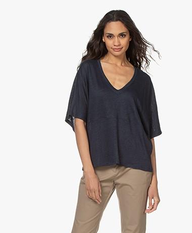 Closed Loose-fit Linen V-neck T-shirt - Thunder Sky