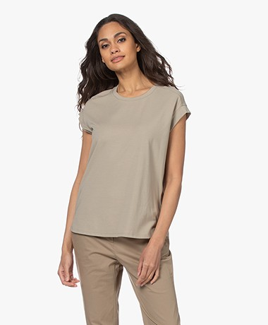 Repeat Cotton Blend Round Neck T-shirt - Pepper