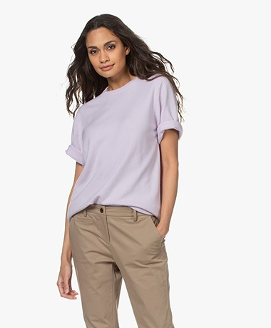 extreme cashmere N°64 Long Knitted T-shirt - Lavender