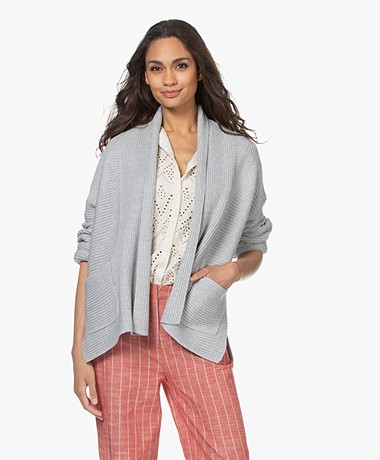 Repeat Open Cotton Shawl Collar Cardigan - Soft Grey