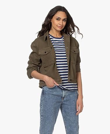 Denham Harrow Boxy Twill Jacket - Army Green