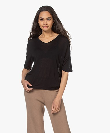Sibin/Linnebjerg Cora Gebreid Viscose T-shirt - Zwart