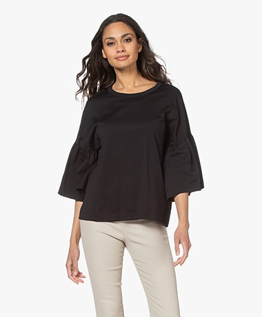 Drykorn Fimoni T-shirt with Lantern Sleeves - Black