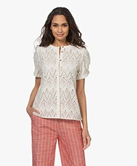 by-bar Bloom Embroidery Short Sleeve Blouse - Egg Shell