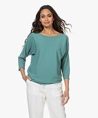 no man's land Cotton Sweater with Lurex - Dark Copper Green