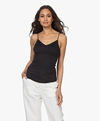 HANRO Cotton Seamless V-neck Spaghetti Strap Top - Black