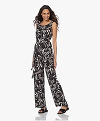 no man's land Viscose Jersey Printed Jumpsuit - Core Black/Off-white