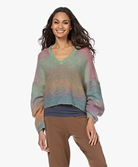 Mes Demoiselles Reflection Mohair Blend V-neck Sweater - Multi-color