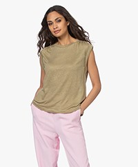 Closed Sleeveless Linen Jersey Top - Green Bark