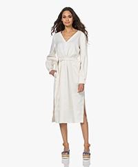 Drykorn Affra Linen Blend Dress with Tie-belt - Papyrus