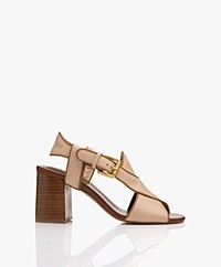 See by Chloé Leather Sandals with Heel - Beige