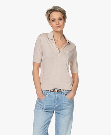 Repeat Fine Knit Lyocell Blend Polo - Beige
