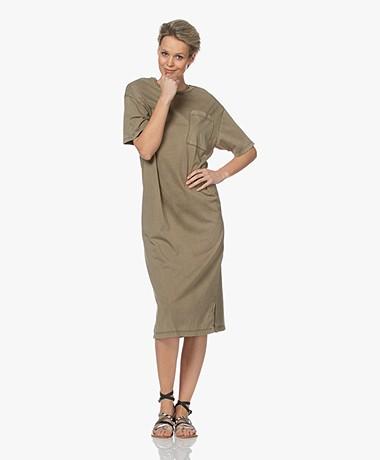 Drykorn Takena Garment Dyed Jersey T-shirtjurk - Groen