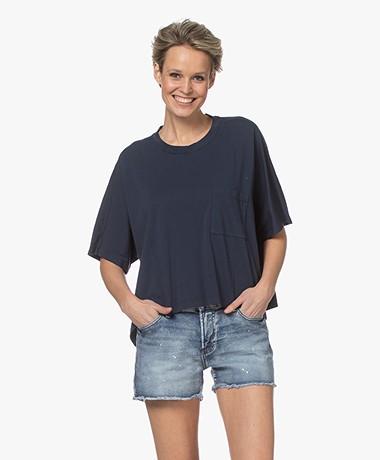 Pomandère Cropped Cotton T-shirt - Blue Navy