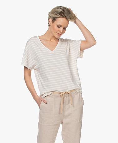 Josephine & Co Lette Gestreept Modalmix T-shirt - Zand