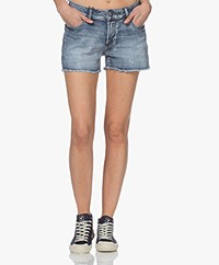 Denham Monroe Destroyed Denim Shorts - Blue