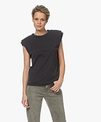 ANINE BING Tanner Sleeveless Top with Shoulder Pads - Washed Black