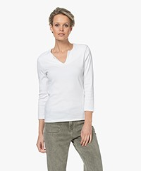 Belluna Cucina Slit Neck T-shirt with Cropped Sleeves - White