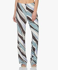 no man's land Loose-fit Viscose Printed Trousers - Copper Green