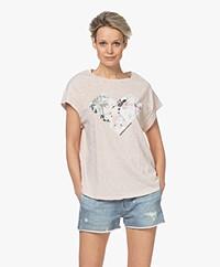 ba&sh Vadim Printed Slub Jersey T-shirt - Mauve