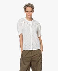 ba&sh Birkin Embroidered Short Sleeve Blouse - Ecru