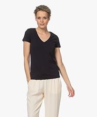 Majestic Filatures Julia Deluxe Katoenen V-hals T-shirt - Marine